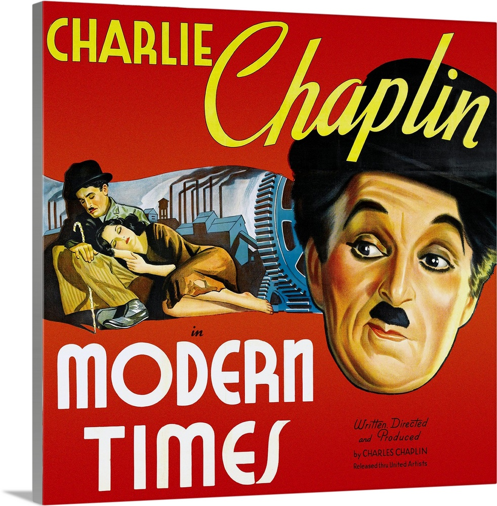 Large Solid-Faced Canvas Print Wall Art Print 20 x 20 entitled Charlie Chaplin Modern Times 3 Solid-Faced Canvas Print entitled Charlie Chaplin Modern Times 3.  Multiple sizes available.  Primary colors within this image include Dark Red, White, Dark Forest Green.  Made in the USA.  All products come with a 365 day workmanship guarantee.  Inks used are latex-based and designed to last.  Archival inks prevent fading and preserve as much fine detail as possible with no over-saturation or color shifting.  Canvas is handcrafted and made-to-order in the United States using high quality artist-grade canvas.