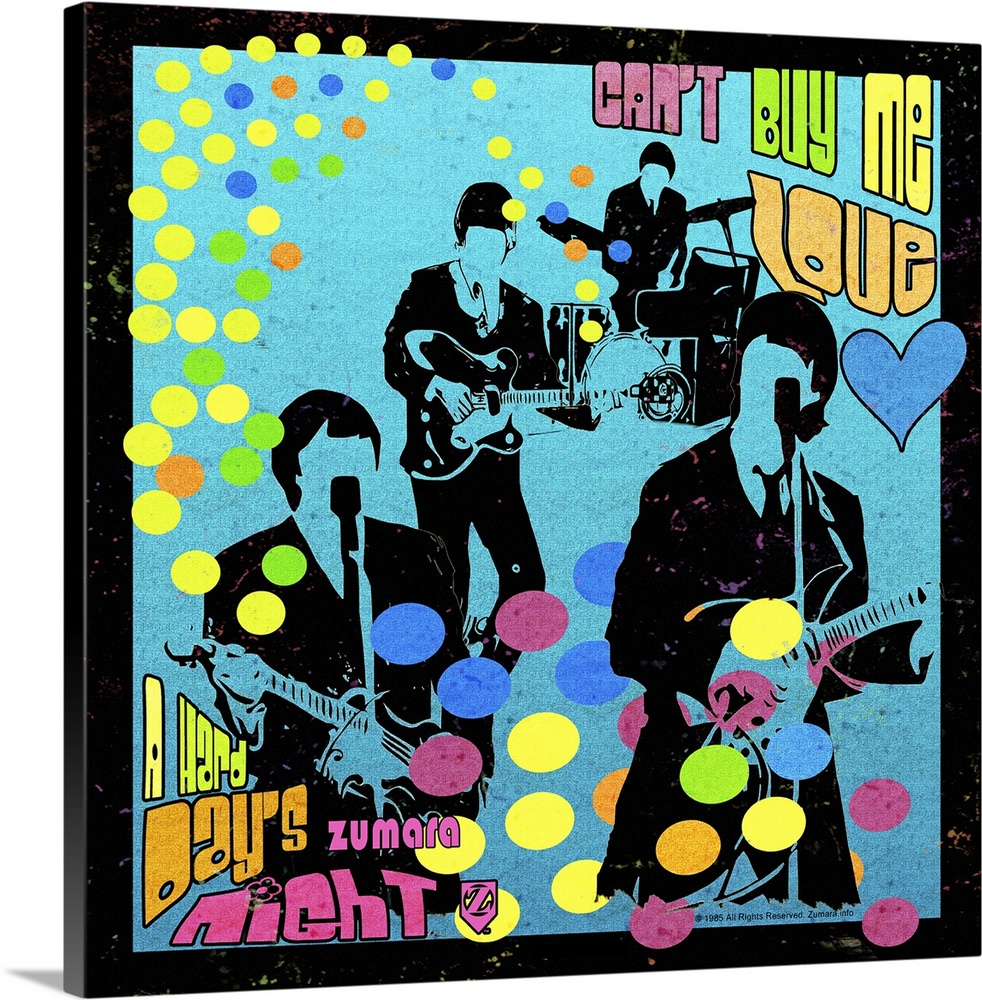 Large Solid-Faced Canvas Print Wall Art Print 20 x 20 entitled Fab4 Can't Buy Me Love Silhouette Solid-Faced Canvas Print entitled Fab4 Cant Buy Me Love Silhouette.  Multiple sizes available.  Primary colors within this image include Light Yellow, Black, Royal Blue, Teal.  Made in the USA.  All products come with a 365 day workmanship guarantee.  Inks used are latex-based and designed to last.  Canvas is handcrafted and made-to-order in the United States using high quality artist-grade canvas.  Archival inks prevent fading and preserve as much fine detail as possible with no over-saturation or color shifting.