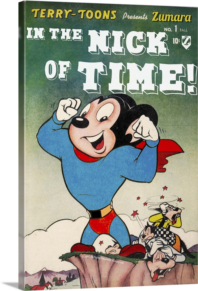 Large Solid-Faced Canvas Print Wall Art Print 20 x 30 entitled Mighty Mouse Nick of Time Solid-Faced Canvas Print entitled Mighty Mouse Nick of Time.  Multiple sizes available.  Primary colors within this image include Red, Dark Red, White, Gray Blue.  Made in the USA.  All products come with a 365 day workmanship guarantee.  Inks used are latex-based and designed to last.  Canvas is handcrafted and made-to-order in the United States using high quality artist-grade canvas.  Archival inks prevent fading and preserve as much fine detail as possible with no over-saturation or color shifting.