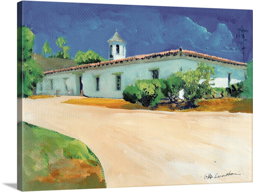 Large Solid-Faced Canvas Print Wall Art Print 24 x 18 entitled Casa de Estudillo Solid-Faced Canvas Print entitled Casa de Estudillo.  Casa de Estudillo in Old Town San Diego painted by american artist RD Riccoboni.  Construction of the most famous Old Town adobe began in 1827 and was completed in 1829 by Captain Jose Maria de Estudillo, commander of the San Diego presidio. When he died in 1830, the house passed to his son, Jose Antonio Estudillo, who served as revenue collector, treasurer, alcalde, and judge of San Diego under Mexican rule and later treasurer and assessor of San Diego County under American rule. He married Maria Victoria Dominguez and their family lived there until 1887. The original adobe home was restored in 1910 with funds provided by the Spreckels family, under the direction of Architect Hazel Waterman it was donated to the State by Mr. Legler Benbough furnishings were provided with the assistance of the National Society of Colonial Dames of America. For many years, the building was mistakenly known as Ramonas Marriage Place from Helen Hunt Jacksons novel. The museum now features furnished rooms and a working kitchen and large courtyard.  Multiple sizes available.  Primary colors within this image include Forest Green, Peach, Gray Blue.  Made in USA.  Satisfaction guaranteed.  Archival-quality UV-resistant inks.  Archival inks prevent fading and preserve as much fine detail as possible with no over-saturation or color shifting.  Featuring a proprietary design, our canvases produce the tightest corners without any bubbles, ripples, or bumps and will not warp or sag over time.