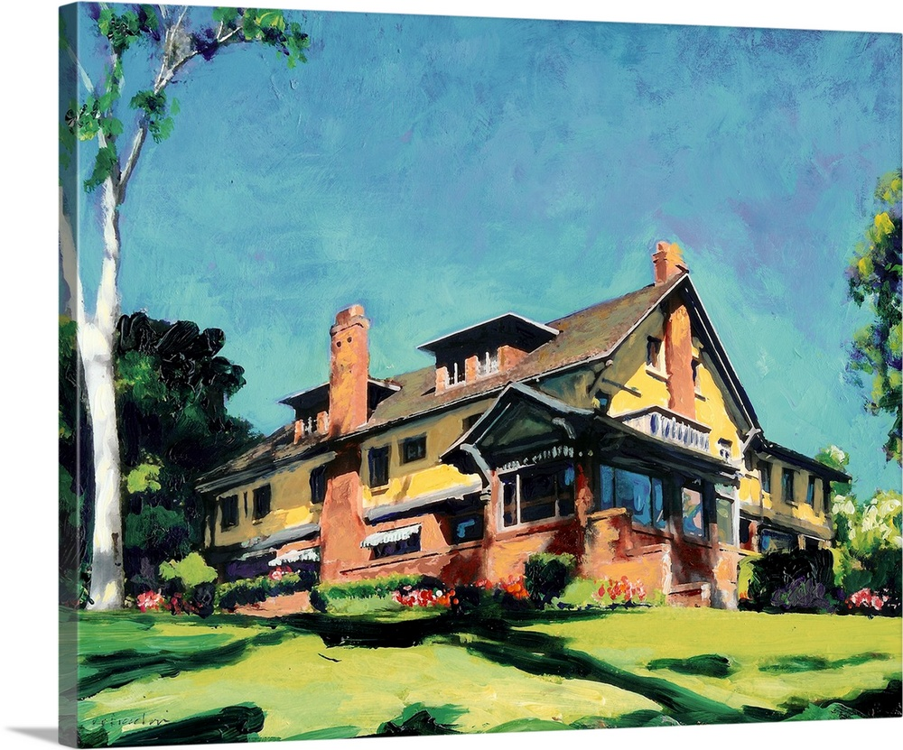 Large Solid-Faced Canvas Print Wall Art Print 30 x 24 entitled Marston House Solid-Faced Canvas Print entitled Marston House.  The Marston House Museum is one of San Diegos finest examples of the Arts and Crafts movement and was constructed in 1905 for George W. Marston and his wife, Anna Gunn Marston. George Marston is noted for many things but most prominently as a civic leader whose interest and work in historic preservation, conservation and history is renowned. The property was designed and built by the internationally renowned architects William Sterling Hebbard and Irving Gill. Surrounded by five acres of rolling lawns, manicured formal gardens, and rustic canyon gardens, this 8,500 square-foot home became a house museum in 1987 after the Marston family gifted it to the City of San Diego for the enjoyment of the public. .  Multiple sizes available.  Primary colors within this image include Orange, Light Yellow, Black, Light Gray Blue.  Made in USA.  All products come with a 365 day workmanship guarantee.  Archival-quality UV-resistant inks.  Featuring a proprietary design, our canvases produce the tightest corners without any bubbles, ripples, or bumps and will not warp or sag over time.  Archival inks prevent fading and preserve as much fine detail as possible with no over-saturation or color shifting.