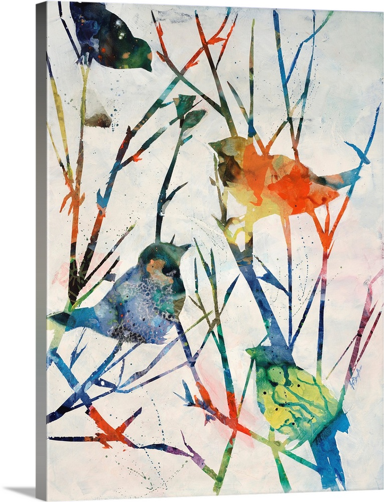 Large Solid-Faced Canvas Print Wall Art Print 30 x 40 entitled Birdsong Shadows II Solid-Faced Canvas Print entitled Birdsong Shadows II.  Contemporary art of four multicolored birds perched on bare tree branches that are vibrantly colored also.  Multiple sizes available.  Primary colors within this image include Red, Peach, White, Royal Blue.  Made in USA.  Satisfaction guaranteed.  Archival-quality UV-resistant inks.  Archival inks prevent fading and preserve as much fine detail as possible with no over-saturation or color shifting.  Featuring a proprietary design, our canvases produce the tightest corners without any bubbles, ripples, or bumps and will not warp or sag over time.