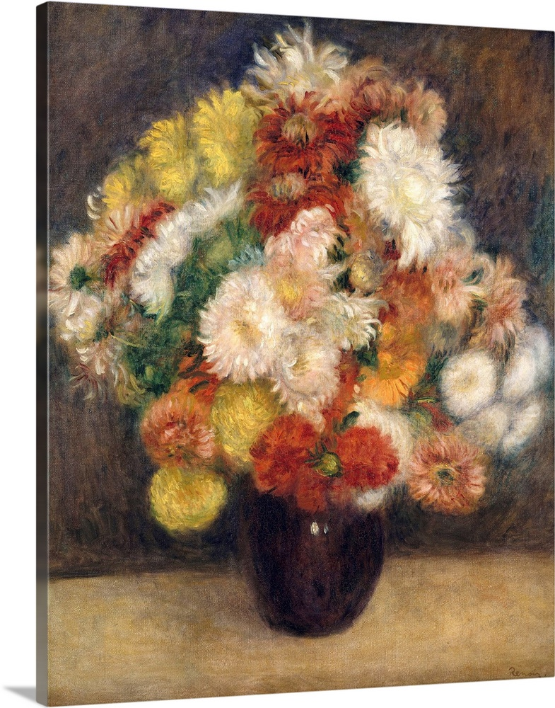 Large Solid-Faced Canvas Print Wall Art Print 36 x 45 entitled Bouquet of Chrysanthemums Solid-Faced Canvas Print entitled Bouquet of Chrysanthemums.  Renoir felt that he had greater freedom to experiment in still lifes than in figure paintings. When I paint flowers, I feel free to try out tones and values and worry less about destroying the canvas, he told the writer Georges Riviere. I would not do this with a figure painting since there I would care about destroying the work.  Multiple sizes available.  Primary colors within this image include Dark Red, Peach, Dark Gray, White.  Made in the USA.  Satisfaction guaranteed.  Archival-quality UV-resistant inks.  Archival inks prevent fading and preserve as much fine detail as possible with no over-saturation or color shifting.  Canvas depth is 1.25 and includes a finished backing with pre-installed hanging hardware.
