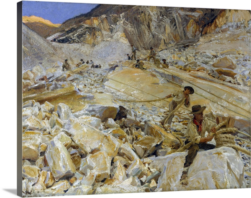 Large Solid-Faced Canvas Print Wall Art Print 30 x 24 entitled Bringing Down Marble from the Quarries to Carrara Solid-Faced Canvas Print entitled Bringing Down Marble from the Quarries to Carrara.  Sargent consolidated many on-the-spot studies of workers into this depiction of the grueling labor, conducted without modern technology, at the historic Italian quarries. A friend recalled the artists devotion to the subject While painting at the Carrara marble quarries, Sargent slept for weeks in a hut so completely devoid of all ordinary comforts that his companions, far younger men, fled after a few days, unable to stand the Spartan rigors tolerated by their senior with such serene indifference.  Multiple sizes available.  Primary colors within this image include Dark Yellow, Silver, Dark Forest Green, Royal Blue.  Made in the USA.  Satisfaction guaranteed.  Archival-quality UV-resistant inks.  Canvas is handcrafted and made-to-order in the United States using high quality artist-grade canvas.  Canvas depth is 1.25 and includes a finished backing with pre-installed hanging hardware.