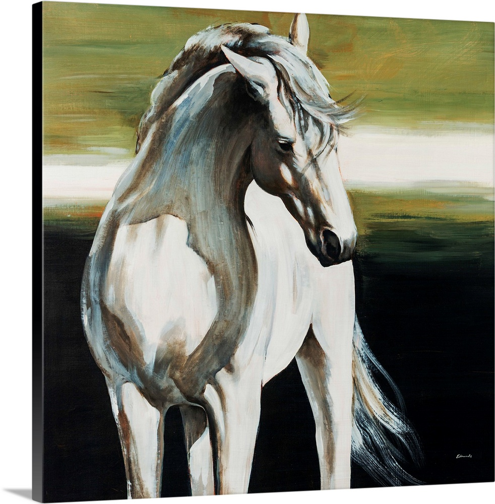 Large Solid-Faced Canvas Print Wall Art Print 20 x 20 entitled Dakota Solid-Faced Canvas Print entitled Dakota.  Square, big painting of a partially shadowed, white horse from the knees up, standing forward with its head turned to the side. Painted on a background of horizontal brushstrokes on a dark landscape.  Multiple sizes available.  Primary colors within this image include Dark Yellow, Black, Gray, Silver.  Made in USA.  All products come with a 365 day workmanship guarantee.  Inks used are latex-based and designed to last.  Canvas depth is 1.25 and includes a finished backing with pre-installed hanging hardware.  Canvas is handcrafted and made-to-order in the United States using high quality artist-grade canvas.