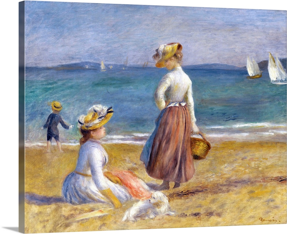 Large Solid-Faced Canvas Print Wall Art Print 30 x 24 entitled Figures on the Beach Solid-Faced Canvas Print entitled Figures on the Beach.  Probably painted in 1890 on the Cote dAzur in southern France, this sun-filled painting shows two female figures at the beach. The seated figure is shown in profile, her right hand holding a parasol on the sand. She exchanges a look with the standing figure to her right who holds a basket at her side. The women are joined by a small white dog, and before the water stands a young boy dressed in blue, seemingly throwing an object into the ocean. The standing figure serves as a vertical force which connects the horizontally banded foreground, water, and sky.The women appear carefree and neither at work nor in the presence of men. Painted later in Renoirs career, a period at which point the artist expressed skepticism of industrialism and machines, this quiet seascape pays homage to the resplendent beauty of what is ordinary and simple.  Multiple sizes available.  Primary colors within this image include Brown, Sky Blue, Gray, White.  Made in the USA.  Satisfaction guaranteed.  Inks used are latex-based and designed to last.  Featuring a proprietary design, our canvases produce the tightest corners without any bubbles, ripples, or bumps and will not warp or sag over time.  Canvas is handcrafted and made-to-order in the United States using high quality artist-grade canvas.