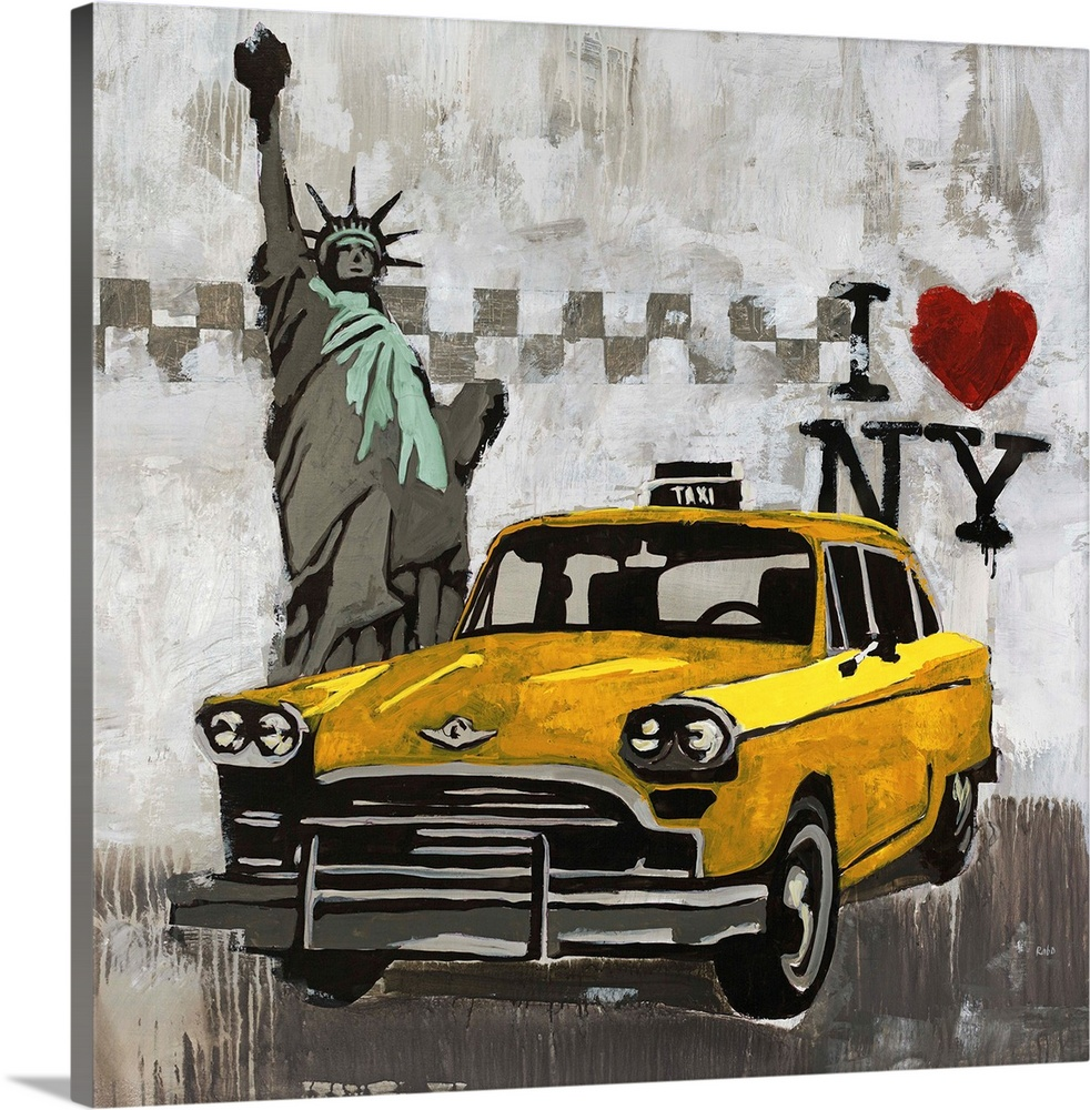 Large Solid-Faced Canvas Print Wall Art Print 20 x 20 entitled I Love New York Solid-Faced Canvas Print entitled I Love New York.  Contemporary painting of a taxi cab in front of the State of Liberty with an I love New York logo in the background.  Multiple sizes available.  Primary colors within this image include Orange, Yellow, Silver, Dark Forest Green.  Made in the USA.  Satisfaction guaranteed.  Archival-quality UV-resistant inks.  Featuring a proprietary design, our canvases produce the tightest corners without any bubbles, ripples, or bumps and will not warp or sag over time.  Archival inks prevent fading and preserve as much fine detail as possible with no over-saturation or color shifting.