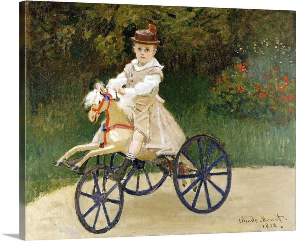 Large Solid-Faced Canvas Print Wall Art Print 30 x 24 entitled Jean Monet (1867-1913) on His Hobby Horse Solid-Faced Canvas Print entitled Jean Monet 1867-1913 on His Hobby Horse.  When Monet painted this picture of his elder son, Jean, in the summer of 1872, the artist and his family had recently returned to France from their self-imposed exile during the Franco-Prussian War. Through the efforts of the dealer Paul Durand-Ruel, the artists finances had begun to improve, enabling the once-impoverished Monets to rent a house in Argenteuil, an agreeable suburb northwest of Paris. For this portrait, Monet posed the five-year-old in the garden of their new home. Monet never exhibited the painting but kept it throughout his life.  Multiple sizes available.  Primary colors within this image include Dark Yellow, Black, Silver, Dark Navy Blue.  Made in USA.  All products come with a 365 day workmanship guarantee.  Archival-quality UV-resistant inks.  Canvas is handcrafted and made-to-order in the United States using high quality artist-grade canvas.  Archival inks prevent fading and preserve as much fine detail as possible with no over-saturation or color shifting.