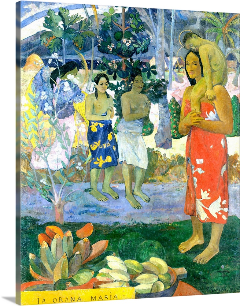 Large Gallery-Wrapped Canvas Wall Art Print 16 x 20 entitled La Orana Maria (Hail Mary) Gallery-Wrapped Canvas entitled La Orana Maria Hail Mary.  Before embarking on a series of pictures inspired by Polynesian religious beliefs, Gauguin devoted this, his first major Tahitian canvas, to a Christian theme, describing it in a letter of March 1892 An angel with yellow wings reveals Mary and Jesus, both Tahitians, to two Tahitian women, nudes dressed in pareus, a sort of cotton cloth printed with flowers that can be draped from the waist. Very somber, mountainous background and flowering trees ... a dark violet path and an emerald green foreground, with bananas on the left. Im rather happy with it. Gauguin based much of the composition on a photograph he owned of a bas-relief in the Javanese temple of Borobudur.  Multiple sizes available.  Primary colors within this image include Gray, White, Dark Forest Green, Light Gray Blue.  Made in the USA.  All products come with a 365 day workmanship guarantee.  Archival-quality UV-resistant inks.  Museum-quality, artist-grade canvas mounted on sturdy wooden stretcher bars 1.5 thick.  Comes ready to hang.  Canvas is acid-free and 20 millimeters thick.