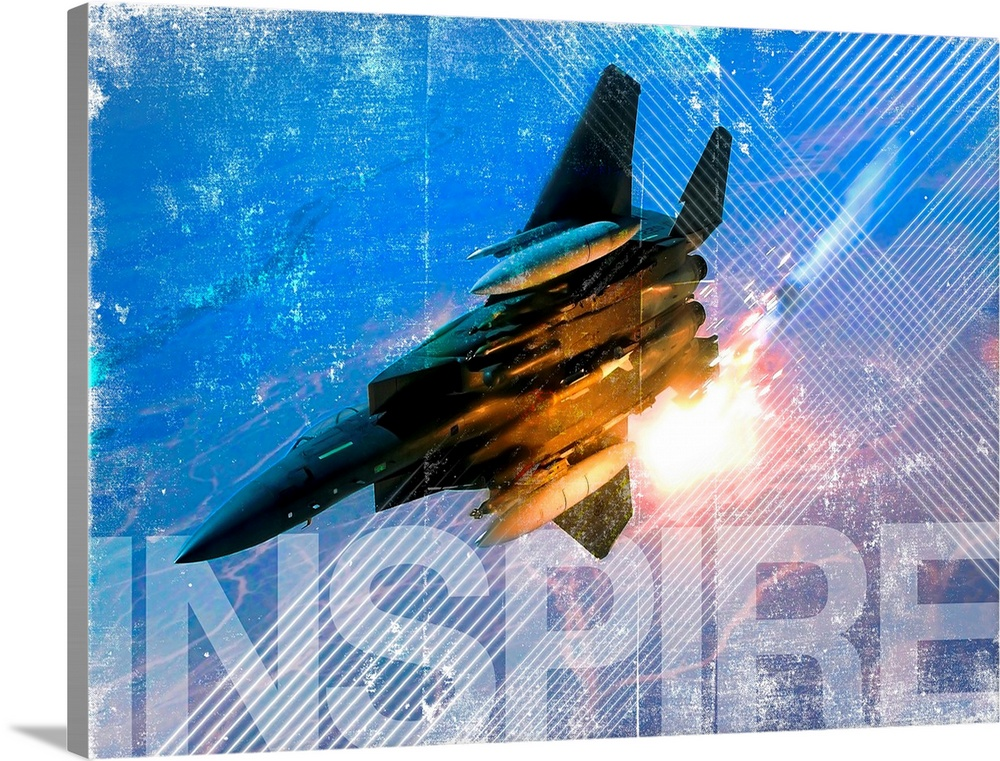 Large Solid-Faced Canvas Print Wall Art Print 48 x 36 entitled Military Grunge Poster: Inspire. An F-15E Eagle pops flares... Solid-Faced Canvas Print entitled Military Grunge Poster Inspire. An F-15E Eagle pops flares during a combat sortie.  Balad Air Base, Iraq, May 6, 2004 - An F-15E Strike Eagle pops flares during a combat sortie in support of Operation Iraqi Freedom.  Multiple sizes available.  Primary colors within this image include Brown, Black, White, Royal Blue.  Made in the USA.  Satisfaction guaranteed.  Inks used are latex-based and designed to last.  Archival inks prevent fading and preserve as much fine detail as possible with no over-saturation or color shifting.  Canvas is handcrafted and made-to-order in the United States using high quality artist-grade canvas.