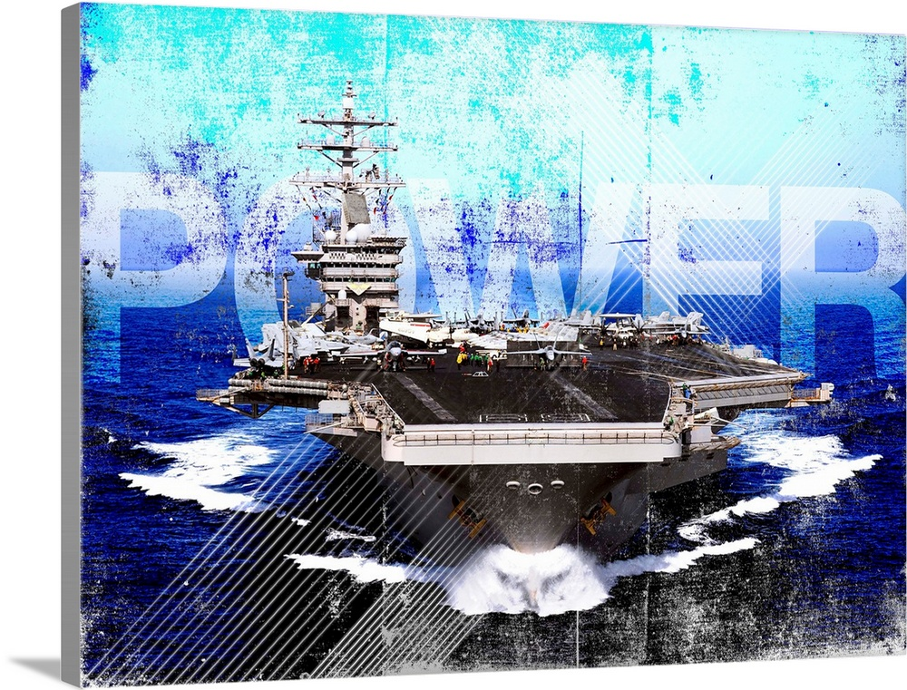 Large Solid-Faced Canvas Print Wall Art Print 48 x 36 entitled Military Grunge Poster: Power. The aircraft carrier USS Dwi... Solid-Faced Canvas Print entitled Military Grunge Poster Power. The aircraft carrier USS Dwight D. Eisenhower.  Arabian Sea, April 26, 2009 - The aircraft carrier USS Dwight D. Eisenhower CVN-69 transits the Arabian Sea. The Eisenhower Carrier Strike Group is underway on a scheduled deployment supporting Operation Enduring Freedom and the on-going rotation of forward-deployed forces to support maritime security operations and operate in international waters across the globe.  Multiple sizes available.  Primary colors within this image include Dark Blue, White, Royal Blue, Dark Navy Blue.  Made in USA.  All products come with a 365 day workmanship guarantee.  Inks used are latex-based and designed to last.  Archival inks prevent fading and preserve as much fine detail as possible with no over-saturation or color shifting.  Canvas is handcrafted and made-to-order in the United States using high quality artist-grade canvas.