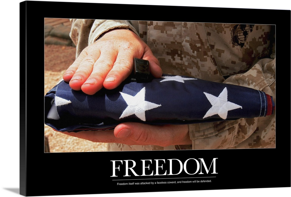 Large Solid-Faced Canvas Print Wall Art Print 36 x 24 entitled Military Motivational Poster: Freedom Solid-Faced Canvas Print entitled Military Motivational Poster Freedom.  Multiple sizes available.  Primary colors within this image include Dark Red, Peach, Black, Dark Forest Green.  Made in USA.  Satisfaction guaranteed.  Inks used are latex-based and designed to last.  Canvas depth is 1.25 and includes a finished backing with pre-installed hanging hardware.  Featuring a proprietary design, our canvases produce the tightest corners without any bubbles, ripples, or bumps and will not warp or sag over time.
