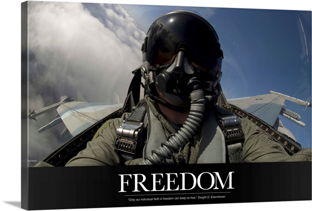 Large Solid-Faced Canvas Print Wall Art Print 36 x 24 entitled Military Motivational Poster: Freedom Solid-Faced Canvas Print entitled Military Motivational Poster Freedom.  Multiple sizes available.  Primary colors within this image include Black, White, Muted Blue.  Made in the USA.  Satisfaction guaranteed.  Archival-quality UV-resistant inks.  Canvas is handcrafted and made-to-order in the United States using high quality artist-grade canvas.  Canvas depth is 1.25 and includes a finished backing with pre-installed hanging hardware.