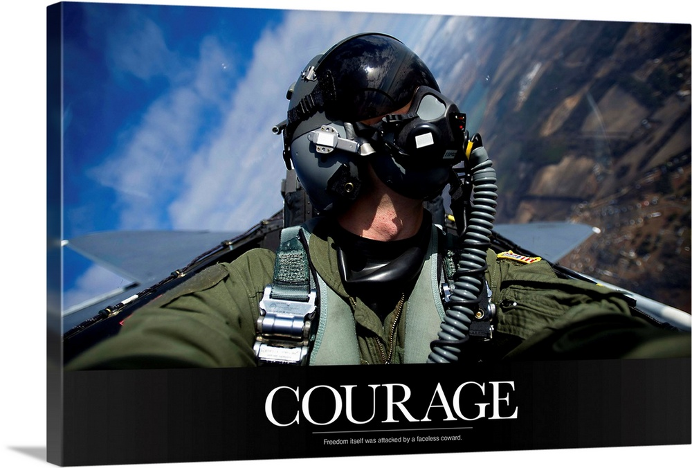 Large Solid-Faced Canvas Print Wall Art Print 36 x 24 entitled Military Motivational Poster: Freedom Solid-Faced Canvas Print entitled Military Motivational Poster Freedom.  Multiple sizes available.  Primary colors within this image include Black, Dark Forest Green, Royal Blue, Light Gray Blue.  Made in the USA.  Satisfaction guaranteed.  Archival-quality UV-resistant inks.  Featuring a proprietary design, our canvases produce the tightest corners without any bubbles, ripples, or bumps and will not warp or sag over time.  Canvas depth is 1.25 and includes a finished backing with pre-installed hanging hardware.