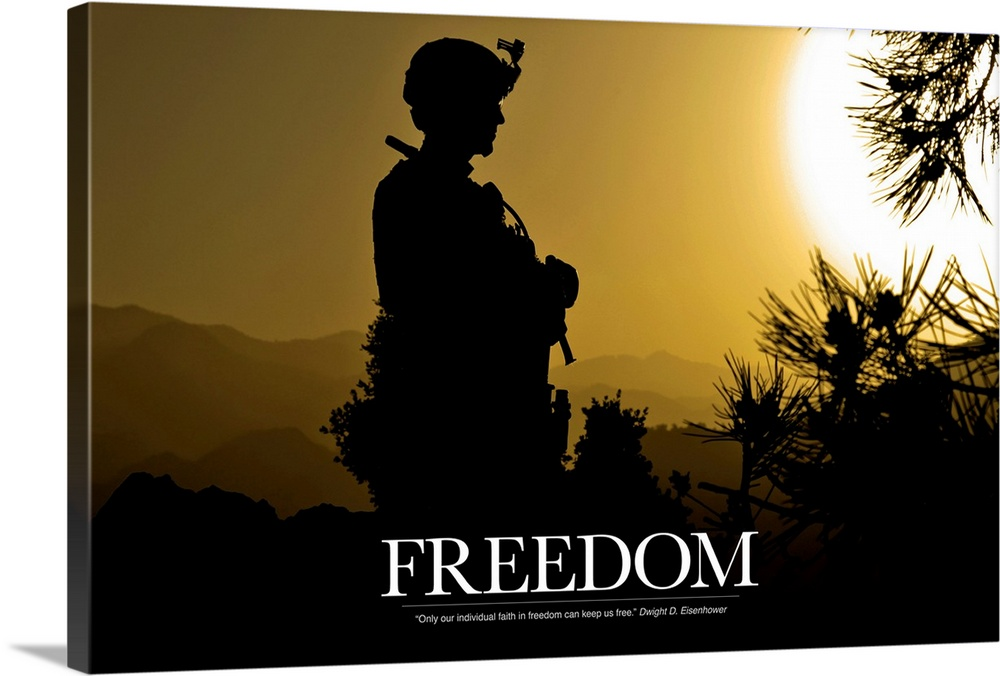 Large Solid-Faced Canvas Print Wall Art Print 36 x 24 entitled Military Motivational Poster: Freedom Solid-Faced Canvas Print entitled Military Motivational Poster Freedom.  Inspirational artwork for freedom showing the silhouette of a standing soldier created by the setting sun with Dwigth D. Eisenhowers quote Only our individual faith in freedom can keep us free shown at the bottom.  Multiple sizes available.  Primary colors within this image include Brown, Peach, Black, White.  Made in the USA.  All products come with a 365 day workmanship guarantee.  Archival-quality UV-resistant inks.  Canvas is handcrafted and made-to-order in the United States using high quality artist-grade canvas.  Featuring a proprietary design, our canvases produce the tightest corners without any bubbles, ripples, or bumps and will not warp or sag over time.