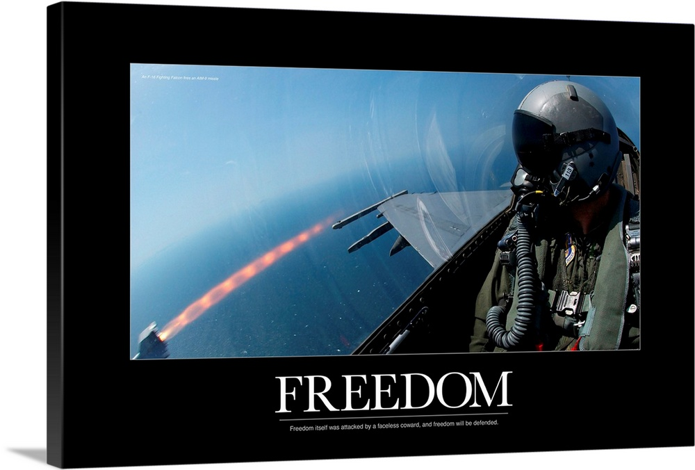 Large Solid-Faced Canvas Print Wall Art Print 36 x 24 entitled Military Motivational Poster: Freedom Will Be Defended Solid-Faced Canvas Print entitled Military Motivational Poster Freedom Will Be Defended.  Multiple sizes available.  Primary colors within this image include Black, White, Muted Blue.  Made in the USA.  All products come with a 365 day workmanship guarantee.  Inks used are latex-based and designed to last.  Canvas depth is 1.25 and includes a finished backing with pre-installed hanging hardware.  Featuring a proprietary design, our canvases produce the tightest corners without any bubbles, ripples, or bumps and will not warp or sag over time.