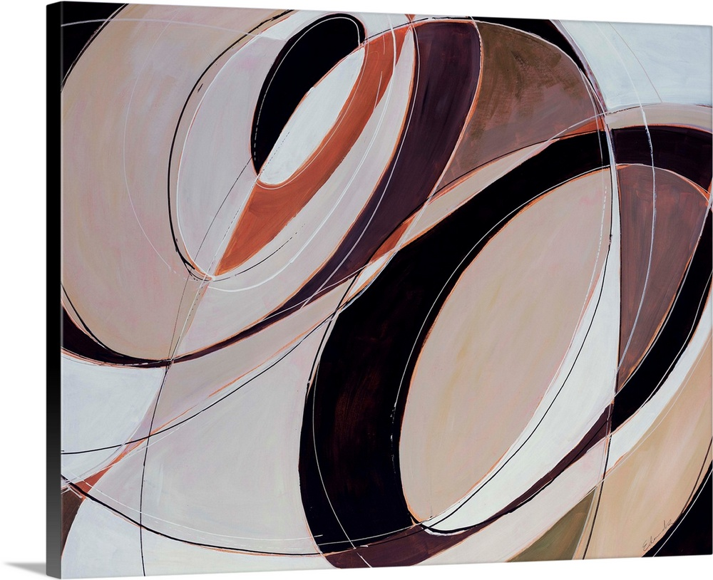 Large Solid-Faced Canvas Print Wall Art Print 30 x 24 entitled Modern Times Solid-Faced Canvas Print entitled Modern Times.  Giant, horizontal, contemporary artwork of multiple, intersecting, circular patterns in several colors that change as they are divided by the crossing lines.  Multiple sizes available.  Primary colors within this image include Black, Gray, Silver.  Made in USA.  Satisfaction guaranteed.  Archival-quality UV-resistant inks.  Canvas depth is 1.25 and includes a finished backing with pre-installed hanging hardware.  Canvas is handcrafted and made-to-order in the United States using high quality artist-grade canvas.