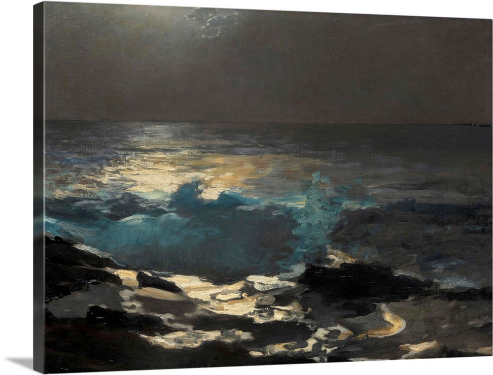 Large Gallery-Wrapped Canvas Wall Art Print 24 x 18 entitled Moonlight, Wood Island Light Gallery-Wrapped Canvas entitled Moonlight Wood Island Light.  Homers first biographer William Howe Downes recounted that the artist was sitting outside his studio one summer evening in 1894 when he exclaimed Ive got an idea... He almost ran into the studio seized his painting outfit emerged from the house and clambered down over the rocks towards the shore. This picture was the result of that impulse and four or five hours work... . It was painted wholly in and by the light of the moon and never again retouched. The spot of red pigment on the horizon denotes the lighthouse on Wood Island to the south of Prouts Neck Maine.  Multiple sizes available.  Primary colors within this image include Dark Gray Light Gray.  Made in USA.  Satisfaction guaranteed.  Inks used are latex-based and designed to last.  Canvas is a 65 polyester 35 cotton base with two acrylic latex primer basecoats and a semi-gloss inkjet receptive topcoat.  Canvas is designed to prevent fading.