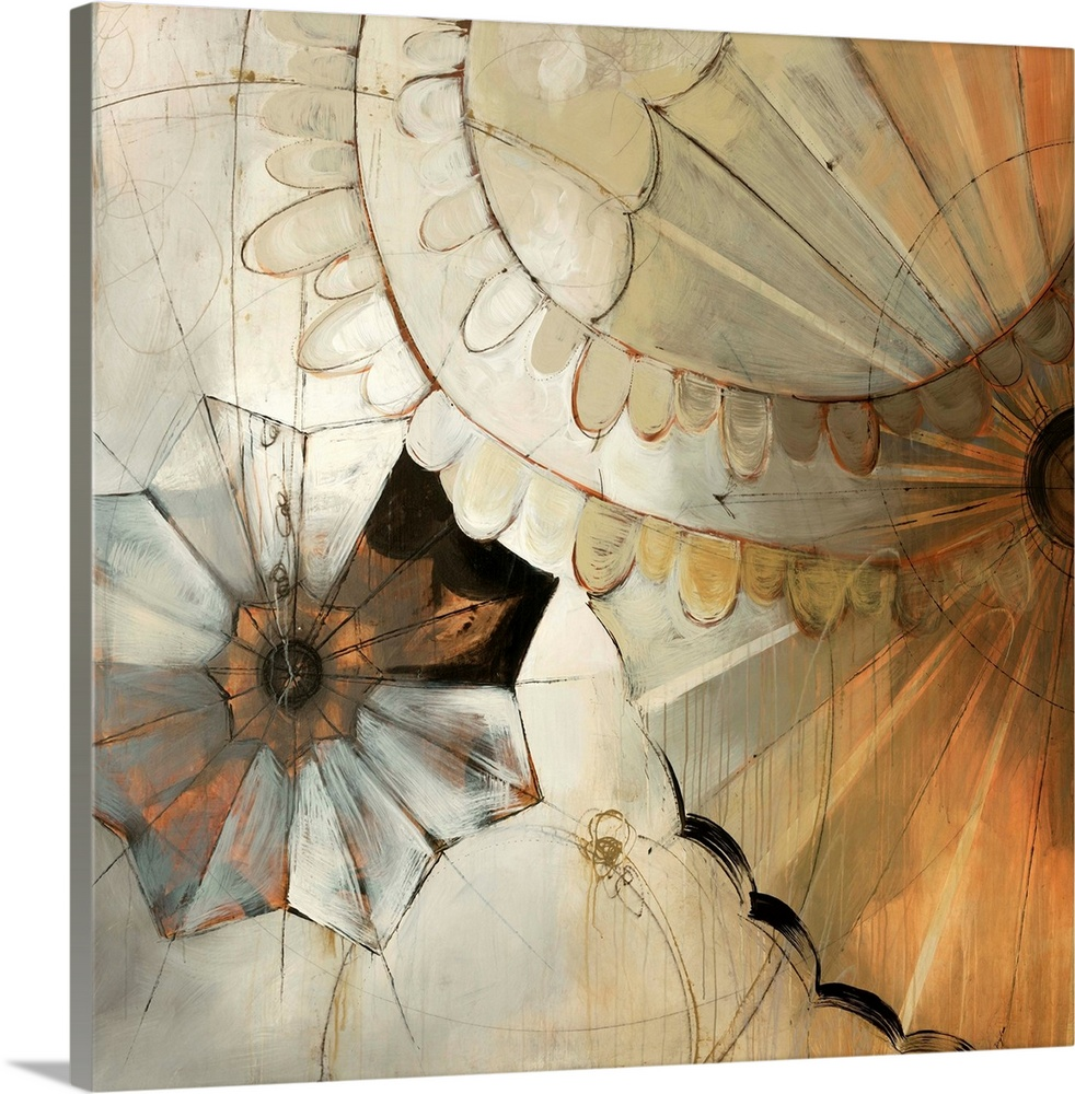 Large Solid-Faced Canvas Print Wall Art Print 20 x 20 entitled Nick of Time Solid-Faced Canvas Print entitled Nick of Time.  Big abstract art composed of earth tones incorporates a heavy use of straight and curved lines to make shapes that appear similar to that of petals on a flower.  Multiple sizes available.  Primary colors within this image include Brown, Peach, Black, Silver.  Made in the USA.  Satisfaction guaranteed.  Inks used are latex-based and designed to last.  Archival inks prevent fading and preserve as much fine detail as possible with no over-saturation or color shifting.  Canvas depth is 1.25 and includes a finished backing with pre-installed hanging hardware.