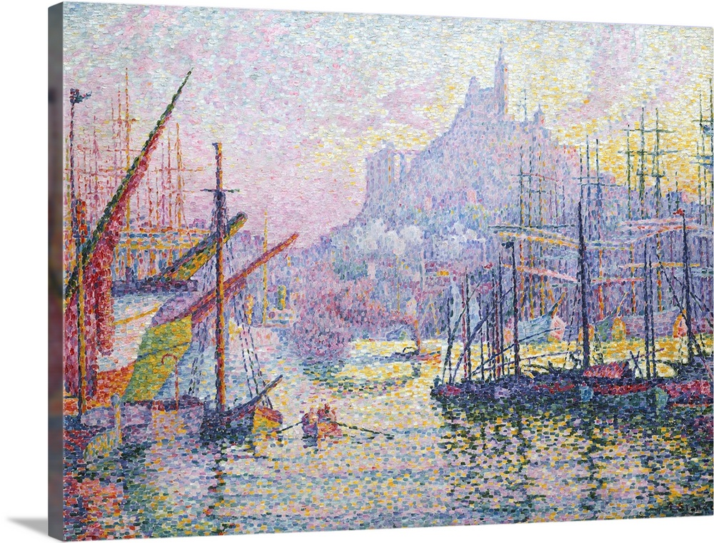 Large Solid-Faced Canvas Print Wall Art Print 24 x 18 entitled Notre-Dame-de-la-Garde (La Bonne-Mere), Marseilles Solid-Faced Canvas Print entitled Notre-Dame-de-la-Garde La Bonne-Mere, Marseilles.  After visiting Marseilles in late 1905, Signac proceeded to paint two canvases in his studio one showing the entrance to the port and this view, facing the hill surmounted by Notre-Dame-de-la-Garde, the church nicknamed the Good Mother by seamen. Bright and boldly colored, the composition reflects Signacs contact with the artists Henri-Edmond Cross and Matisse at Saint-Tropez in the summer of 1904. The rectangular strokes of unmixed pigment, arranged like tesserae in a mosaic, are Signacs variation on the innovative painting method pioneered by Seurat.  Multiple sizes available.  Primary colors within this image include Dark Yellow, Light Gray, Silver, Muted Blue.  Made in the USA.  All products come with a 365 day workmanship guarantee.  Inks used are latex-based and designed to last.  Canvas is handcrafted and made-to-order in the United States using high quality artist-grade canvas.  Canvas depth is 1.25 and includes a finished backing with pre-installed hanging hardware.