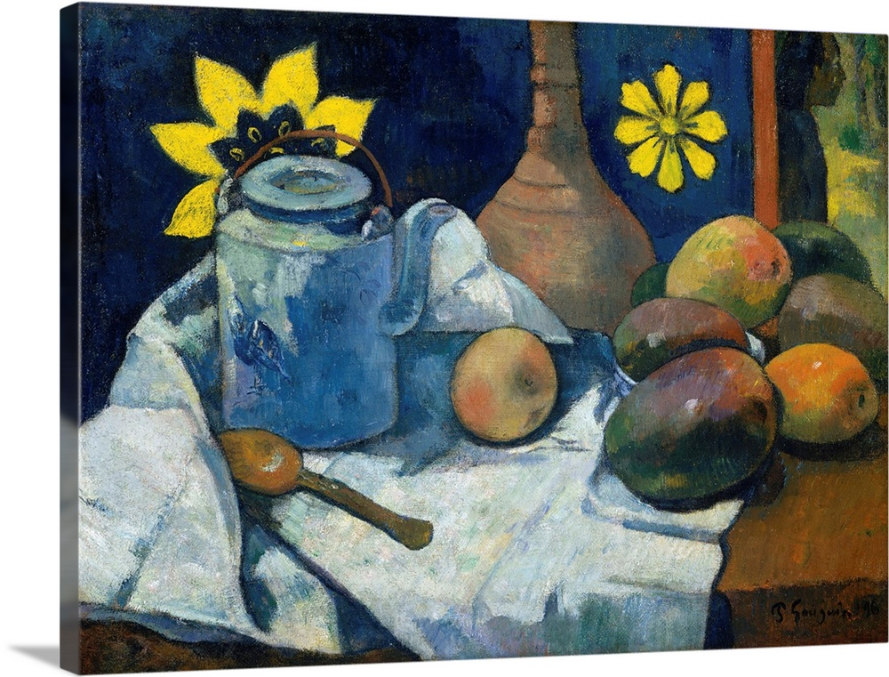 Large Solid-Faced Canvas Print Wall Art Print 40 x 30 entitled Still Life with Teapot and Fruit Solid-Faced Canvas Print entitled Still Life with Teapot and Fruit.  One of Gauguins most treasured possessions was a painting by Cezanne, Still Life with Fruit Dish1879-80, now Museum of Modern Art, New York , which he emulates in this picture. Within a similarly compressed space, Gauguin substituted mangoes for Cezannes apples and a Tahitian-style printed cloth for a French floral wallpaper design. One significant departure is the human figure at the upper right, glimpsed through a door or window. The year after he completed this work, Gauguins finances were so dire that he arranged for the sale of his prized Cezanne.  Multiple sizes available.  Primary colors within this image include Yellow, Brown, Gray, Dark Navy Blue.  Made in the USA.  Satisfaction guaranteed.  Inks used are latex-based and designed to last.  Canvas depth is 1.25 and includes a finished backing with pre-installed hanging hardware.  Archival inks prevent fading and preserve as much fine detail as possible with no over-saturation or color shifting.