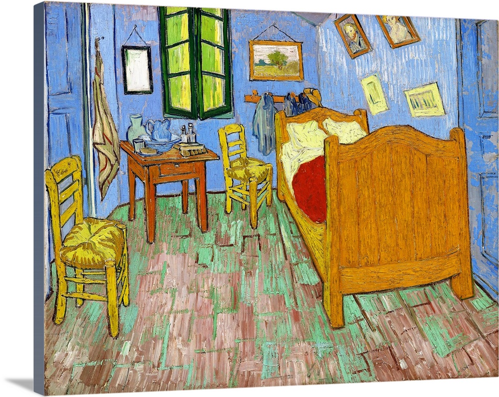 Large Solid-Faced Canvas Print Wall Art Print 30 x 24 entitled The Bedroom Solid-Faced Canvas Print entitled The Bedroom.  Vincent van Gogh so highly esteemed his bedroom painting that he made three distinct versions the first, now in the collection of the Van Gogh Museum, Amsterdam the second, belonging to the Art Institute of Chicago, painted a year later on the same scale and almost identical and a third, smaller canvas in the collection of the Musee dOrsay, Paris, which he made as a gift for his mother and sister. Van Gogh conceived the first Bedroom in October 1888, a month after he moved into his Yellow House in Arles, France. This moment marked the first time the artist had a home of his own, and he had immediately and enthusiastically set about decorating, painting a suite of canvases to fill the walls. Completely exhausted from the effort, he spent two-and-a-half days in bed and was then inspired to create a painting of his bedroom. As he wrote to his brother Theo, It amused me enormously doing this bare interior. With a simplicity a la Seurat. In 64258at tints, but coarsely brushed in full impasto, the walls pale lilac, the 64258oor in a broken and faded red, the chairs and the bed chrome yellow, the pillows and the sheet very pale lemon green, the bedspread blood-red, the dressing-table orange, the washbasin blue, the window green. I had wished to express utter repose with all these very different tones. Although the picture symbolized relaxation and peace to the artist, to our eyes the canvas seems to teem with nervous energy, instability, and turmoil, and effect heightened by the sharply receding perspective.  Multiple sizes available.  Primary colors within this image include Orange, Yellow, Dark Red, Black.  Made in the USA.  All products come with a 365 day workmanship guarantee.  Inks used are latex-based and designed to last.  Canvas depth is 1.25 and includes a finished backing with pre-installed hanging hardware.  Archival inks prevent fading and