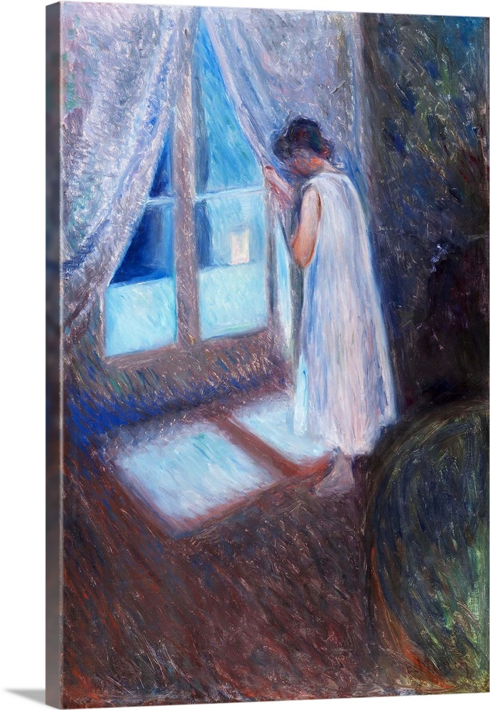 Large Solid-Faced Canvas Print Wall Art Print 20 x 30 entitled The Girl by the Window Solid-Faced Canvas Print entitled The Girl by the Window.  Edvard Munchs life and art8201particularly his iconic work, The Scream 1893 National Museum, Oslo,8201have come to epitomize modern notions of anxiety. Yet the same year he painted his radical image, Munch was experimenting with other styles and themes. Frequent visits to Paris and Berlin between 1889 and 1893 brought the Norwegian artist into direct contact with the Impressionists and Symbolists. These travels encouraged him to adopt their bold brushwork, daring compositions, and imagery. But he nonetheless continued to incorporate the Romantic subjects of the northern European artists long familiar to him, such as a lone figure at an open window. This combination is powerfully manifested in, The Girl by the Window, made soon after his return home to Norway. In the dead of night, a young girl in her nightgown stands in a darkened room gazing out at the city. The steep angle of the floor and the deep shadows that obliterate everything in the room, save a suggestion of a piece of furniture at the lower right, create an unsettling and enigmatic scene. Loosely applied, somber brown tones mingle with violets and blues, evoking a feeling of melancholy and anticipation. The window functions as a symbolic barrier, separating the interior from the outside world. The sense of mystery is deepened and complicated by the fact that we cannot see the expression on the girls face, nor do we know what she covertly observes. She in turn appears unaware that, as she gazes from behind the curtain at something unknown outside, the artist and implied viewer are watching her.  Multiple sizes available.  Primary colors within this image include Dark Blue, Dark Gray, Pale Blue.  Made in the USA.  Satisfaction guaranteed.  Inks used are latex-based and designed to last.  Canvas depth is 1.25 and includes a finished backing with pre-installed hangin