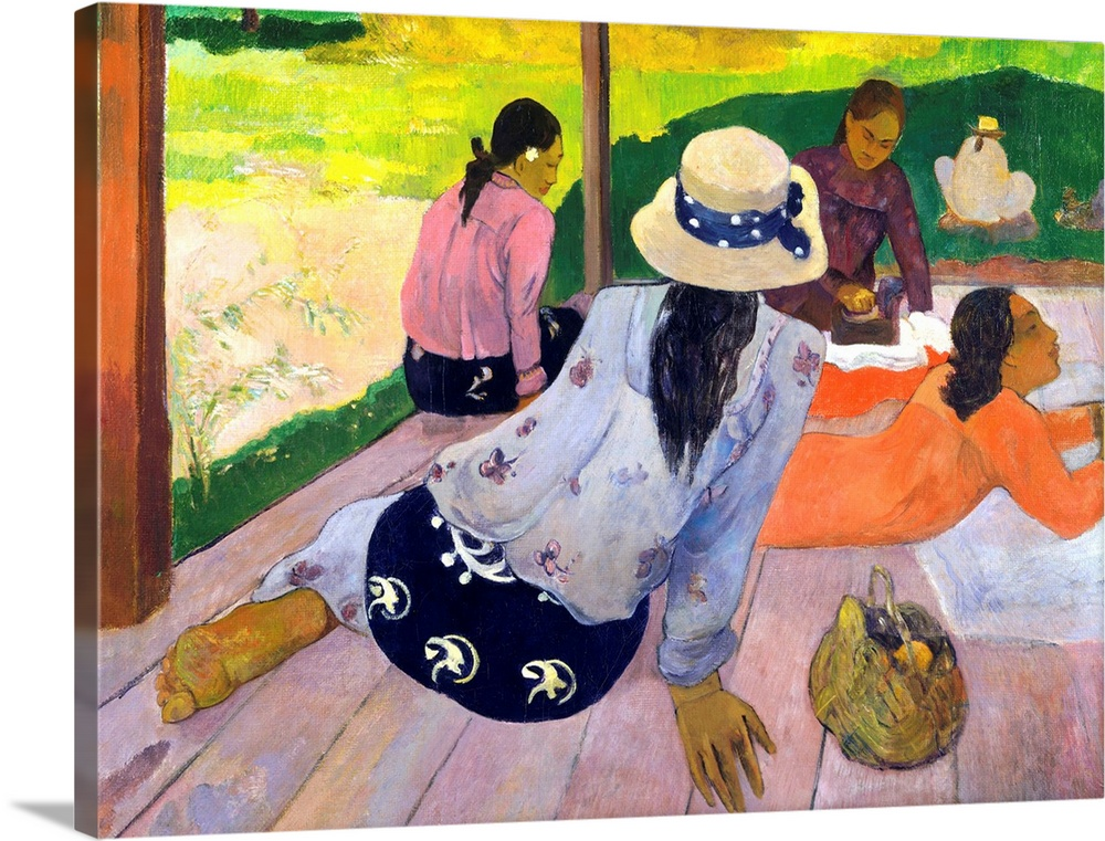 Large Gallery-Wrapped Canvas Wall Art Print 24 x 18 entitled The Siesta Gallery-Wrapped Canvas entitled The Siesta.  The unaffected grace and communal ease of Tahitian women impressed Gauguin enormously. The artist worked on this painting over an extended period incorporating numerous changes. The skirt of the woman in the foreground for example was originally bright red there was a dog in the position now occupied by the basket at lower right and the woman seated at the left edge of the porch was previously situated further to the left.  Multiple sizes available.  Primary colors within this image include Dark Yellow Forest Green Peach Black.  Made in the USA.  Satisfaction guaranteed.  Archival-quality UV-resistant inks.  Canvas is acid-free and 20 millimeters thick.  Canvas frames are built with farmed or reclaimed domestic pine or poplar wood.