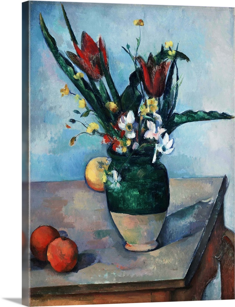 Large Solid-Faced Canvas Print Wall Art Print 30 x 40 entitled The Vase of Tulips Solid-Faced Canvas Print entitled The Vase of Tulips.  The table in this still life of flowers and fruit appears in several of Paul Cezannes other paintings, although scholars do not agree about which of the artists residences housed this piece of furniture. As is typical of his work, the painting is carefully considered and hard-won, especially in the tense spatial relationships between objects. The traces of at least three other pieces of fruit presumably oranges at lower left bear witness to Cezannes changing opinion as he struggled to make the composition work.  Multiple sizes available.  Primary colors within this image include Dark Red, Gray, Silver, Dark Navy Blue.  Made in USA.  All products come with a 365 day workmanship guarantee.  Inks used are latex-based and designed to last.  Canvas depth is 1.25 and includes a finished backing with pre-installed hanging hardware.  Archival inks prevent fading and preserve as much fine detail as possible with no over-saturation or color shifting.