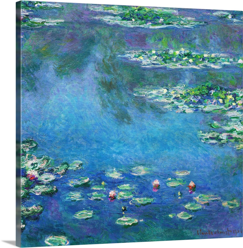 Large Solid-Faced Canvas Print Wall Art Print 20 x 20 entitled Water Lilies Solid-Faced Canvas Print entitled Water Lilies.  One instant, one aspect of nature contains it all, said Claude Monet, referring to his late masterpieces, the water landscapes that he produced at his home in Giverny between 1897 and his death in 1926. These works replaced the varied contemporary subjects he had painted from the 1870s through the 1890s with a single, timeless motif - water lilies. The focal point of these paintings was the artists beloved flower garden, which featured a water garden and a smaller pond spanned by a Japanese footbridge. In his first water-lily series 1897 - 99, Monet painted the pond environment, with its plants, bridge, and trees neatly divided by a fixed horizon. Over time, the artist became less and less concerned with conventional pictorial space. By the time he painted Water Lilies, which comes from his third group of these works, he had dispensed with the horizon line altogether. In this spatially ambiguous canvas, the artist looked down, focusing solely on the surface of the pond, with its cluster of vegetation floating amid the reflection of sky and trees. Monet thus created the image of a horizontal surface on a vertical one.  Multiple sizes available.  Primary colors within this image include Forest Green, Sky Blue, Muted Blue, Dark Forest Green.  Made in the USA.  All products come with a 365 day workmanship guarantee.  Archival-quality UV-resistant inks.  Canvas depth is 1.25 and includes a finished backing with pre-installed hanging hardware.  Featuring a proprietary design, our canvases produce the tightest corners without any bubbles, ripples, or bumps and will not warp or sag over time.