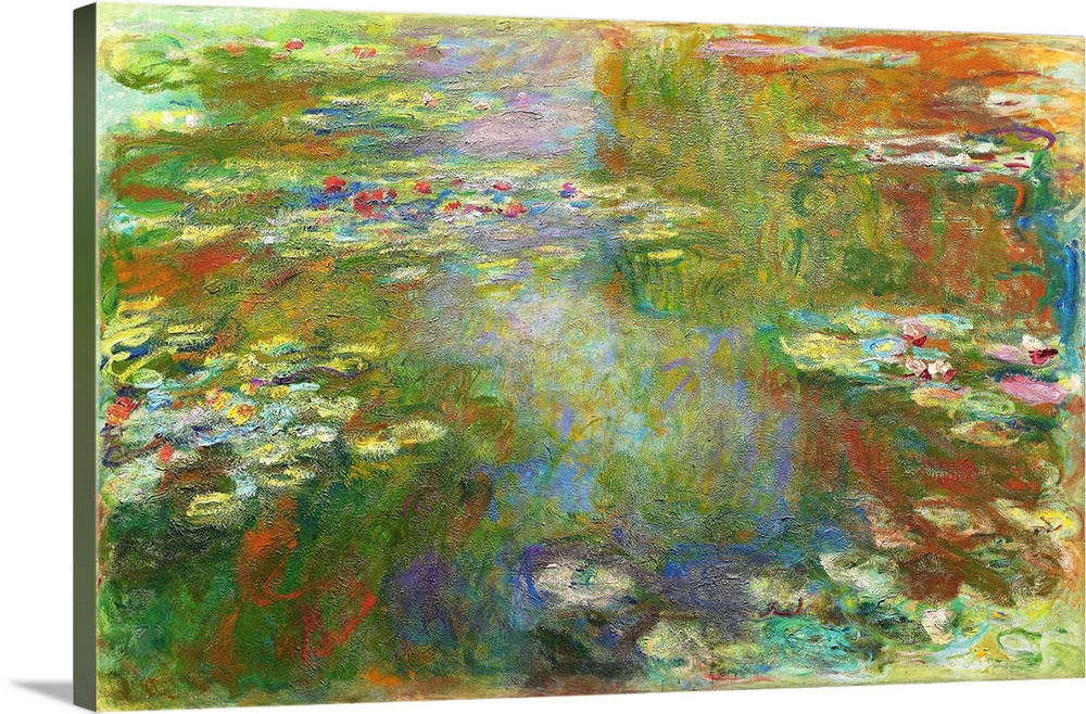 Large Solid-Faced Canvas Print Wall Art Print 30 x 20 entitled Water Lily Pond Solid-Faced Canvas Print entitled Water Lily Pond.  In 1893, three years after buying property at Giverny, Claude Monet began transforming the marshy ground behind his home into a pond, on the narrow end of which he built a Japanese-style wood bridge. Adding both exotic and domestic plantings, including his famous water lilies, the artist created the garden that would be one of his principal subjects for the rest of his life. Water Lily Pond was among the 18 similar versions of the motif that he made in 1899 - 1900 their common theme was the mingling of the lilies with reflections of other vegetation on the pools surface.  Multiple sizes available.  Primary colors within this image include Brown, Dark Yellow, Light Gray, White.  Made in the USA.  All products come with a 365 day workmanship guarantee.  Archival-quality UV-resistant inks.  Featuring a proprietary design, our canvases produce the tightest corners without any bubbles, ripples, or bumps and will not warp or sag over time.  Archival inks prevent fading and preserve as much fine detail as possible with no over-saturation or color shifting.