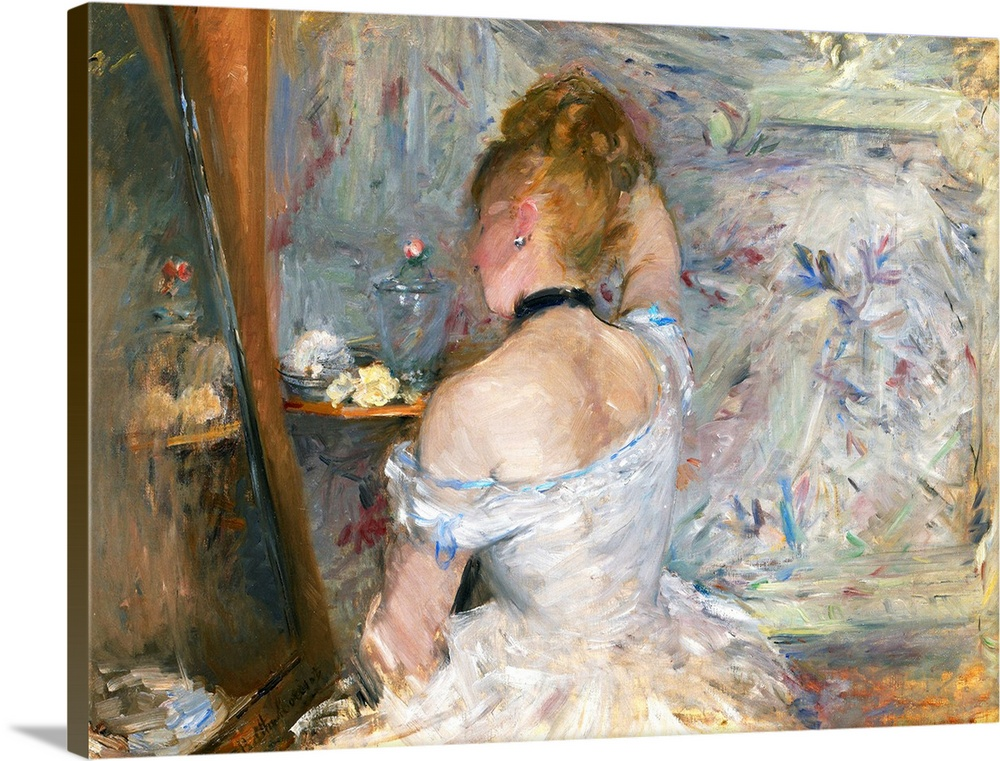 Large Solid-Faced Canvas Print Wall Art Print 40 x 30 entitled Woman at Her Toilette Solid-Faced Canvas Print entitled Woman at Her Toilette.  Consistent with the Impressionist aesthetic that Berthe Morisot fervently espoused, Woman at Her Toilette attempts to capture the essence of modern life in summary, understated terms. The painting also moves discreetly into the realm of female eroticism explored by Edgar Degas, edouard Manet, and Pierre-Auguste Renoir but seldom broached at this time by women artists. Rendered with soft, feathery brushstrokes in nuanced shades of lavender, pink, blue, white, and gray, the composition resembles a visual tone poem, orchestrated with such perfumed and rarified motifs as brushed blonde hair, satins, powder puffs, and 64258ower petals. The artist even signed her name along the bottom of the mirror, as if to suggest that the image in her painting is as ephemeral as a silvery re64258ection. Morisot exhibited in seven of the eight Impressionist group shows this painting was included in the fifth exhibition, in 1880, where her work received great acclaim. She was a particularly close friend of and frequent model for Manet, and she married his younger brother Eugene the year before she completed this painting. In addition to domestic interiors such as this one, Morisots pictorial realm included studies of women and children, gardens, fields, and seaside vacation homes.  Multiple sizes available.  Primary colors within this image include Brown, White, Dark Forest Green.  Made in the USA.  All products come with a 365 day workmanship guarantee.  Inks used are latex-based and designed to last.  Canvas is handcrafted and made-to-order in the United States using high quality artist-grade canvas.  Canvas depth is 1.25 and includes a finished backing with pre-installed hanging hardware.