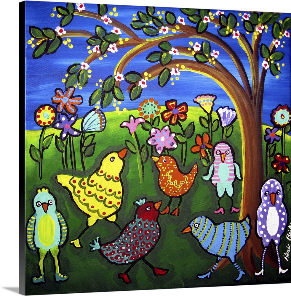 Large Solid-Faced Canvas Print Wall Art Print 20 x 20 entitled Fun Funky Birds and Blossoms Solid-Faced Canvas Print entitled Fun Funky Birds and Blossoms.  These funky birds are decked out in their high heeled shoes and whimsical patterns, under spring blossoms and flowers.  Multiple sizes available.  Primary colors within this image include Yellow, Dark Blue, Sky Blue, Black.  Made in the USA.  Satisfaction guaranteed.  Archival-quality UV-resistant inks.  Canvas depth is 1.25 and includes a finished backing with pre-installed hanging hardware.  Featuring a proprietary design, our canvases produce the tightest corners without any bubbles, ripples, or bumps and will not warp or sag over time.