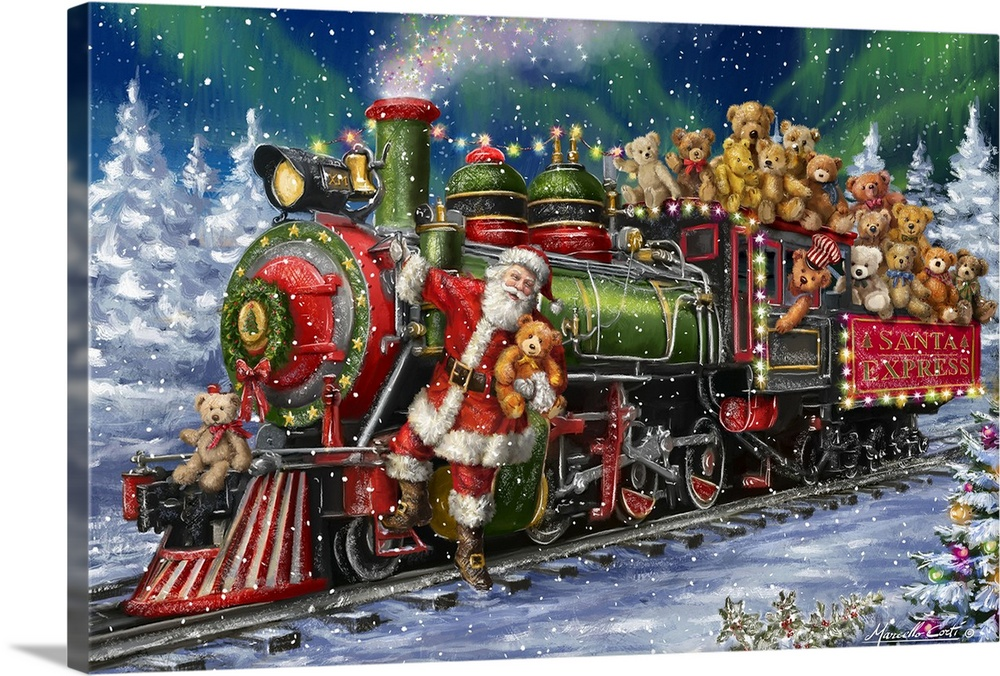 Large Solid-Faced Canvas Print Wall Art Print 30 x 20 entitled Santa Green /Red Train with toy bears Solid-Faced Canvas Print entitled Santa Green Red Train with toy bears.  Decorative image of a green and red Santa Express train full of Teddy Bears with Santa riding in the front as the train goes through a snow covered forest.  Multiple sizes available.  Primary colors within this image include Dark Red, Black, White, Muted Blue.  Made in USA.  All products come with a 365 day workmanship guarantee.  Archival-quality UV-resistant inks.  Archival inks prevent fading and preserve as much fine detail as possible with no over-saturation or color shifting.  Canvas is handcrafted and made-to-order in the United States using high quality artist-grade canvas.
