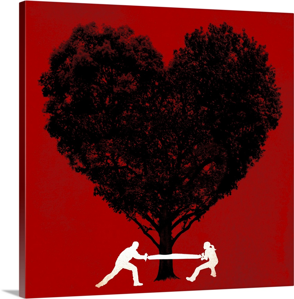 Large Solid-Faced Canvas Print Wall Art Print 20 x 20 entitled Labor of Love Solid-Faced Canvas Print entitled Labor of Love.  Big contemporary art illustrates a man and a woman working together to cut down a tree that is shaped like a heart against a solid colored background.  Multiple sizes available.  Primary colors within this image include Dark Red, Black, White.  Made in USA.  Satisfaction guaranteed.  Archival-quality UV-resistant inks.  Canvas depth is 1.25 and includes a finished backing with pre-installed hanging hardware.  Archival inks prevent fading and preserve as much fine detail as possible with no over-saturation or color shifting.