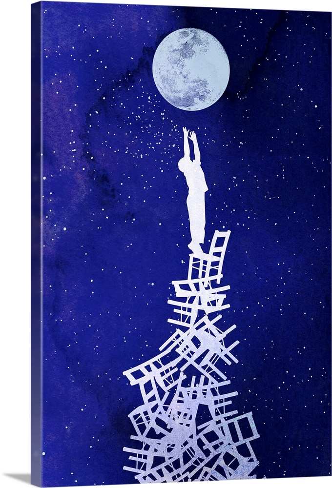 Large Gallery-Wrapped Canvas Wall Art Print 16 x 24 entitled Out of Reach Gallery-Wrapped Canvas entitled Out of Reach.  Contemporary art depicting the silhouette of a child standing on top of a stack of chairs reaching for the moon, a dark sky full of stars in the background.  .  Multiple sizes available.  Primary colors within this image include Dark Blue, Pale Blue, Gray Blue, Dark Navy Blue.  Made in USA.  All products come with a 365 day workmanship guarantee.  Inks used are latex-based and designed to last.  Canvases have a UVB protection built in to protect against fading and moisture and are designed to last for over 100 years.  Canvas is a 65 polyester, 35 cotton base, with two acrylic latex primer basecoats and a semi-gloss inkjet receptive topcoat.
