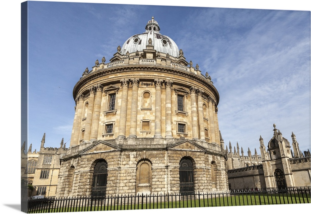Large Solid-Faced Canvas Print Wall Art Print 30 x 20 entitled The Radcliffe Camera, Oxford, Oxfordshire, England, UK Solid-Faced Canvas Print entitled The Radcliffe Camera, Oxford, Oxfordshire, England, UK.  Multiple sizes available.  Primary colors within this image include Black, White, Gray Blue.  Made in USA.  All products come with a 365 day workmanship guarantee.  Inks used are latex-based and designed to last.  Canvas is handcrafted and made-to-order in the United States using high quality artist-grade canvas.  Archival inks prevent fading and preserve as much fine detail as possible with no over-saturation or color shifting.