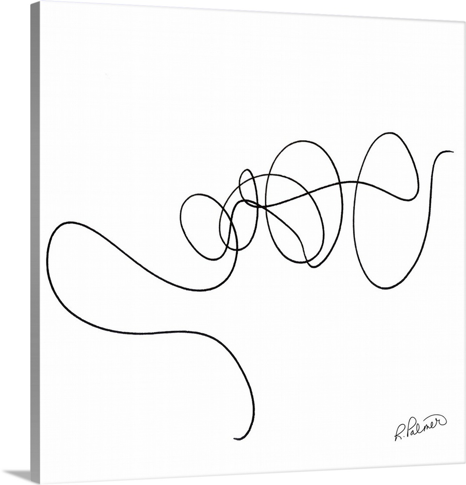 Solid-Faced Canvas drucken wand kunst entitled Squiggle Two Weiß