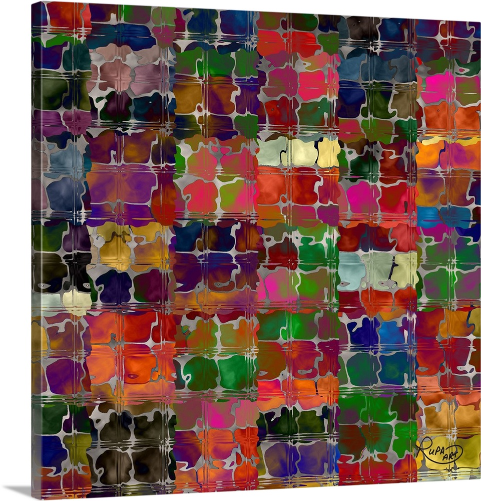 Solid-Faced Canvas drucken wand kunst entitled Squiggly Squares