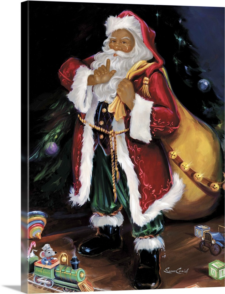Large Solid-Faced Canvas Print Wall Art Print 30 x 40 entitled African American Santa Solid-Faced Canvas Print entitled African American Santa.  Fine art painting of Santa Claus holding a bag with toys on the floor.  Multiple sizes available.  Primary colors within this image include Dark Red, Peach, Black, Pale Blue.  Made in the USA.  Satisfaction guaranteed.  Archival-quality UV-resistant inks.  Featuring a proprietary design, our canvases produce the tightest corners without any bubbles, ripples, or bumps and will not warp or sag over time.  Archival inks prevent fading and preserve as much fine detail as possible with no over-saturation or color shifting.