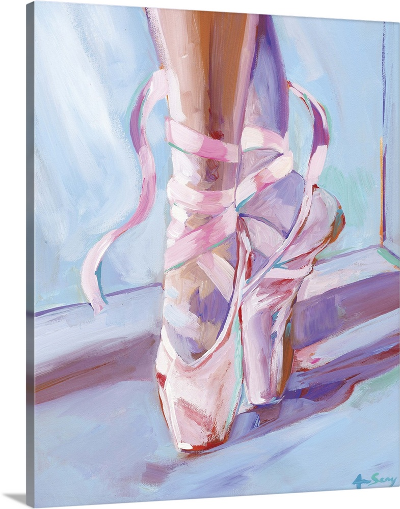 Large Solid-Faced Canvas Print Wall Art Print 24 x 30 entitled Ballet Shoes Solid-Faced Canvas Print entitled Ballet Shoes.  Painting of a ballerinas feet in ballet shoes that are laced around the ankles with ribbons.  Multiple sizes available.  Primary colors within this image include Lilac, Black, Gray, Pale Blue.  Made in the USA.  All products come with a 365 day workmanship guarantee.  Inks used are latex-based and designed to last.  Archival inks prevent fading and preserve as much fine detail as possible with no over-saturation or color shifting.  Canvas depth is 1.25 and includes a finished backing with pre-installed hanging hardware.