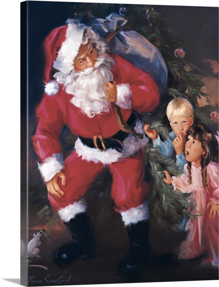 Large Solid-Faced Canvas Print Wall Art Print 18 x 24 entitled Christmas Eve Watch Solid-Faced Canvas Print entitled Christmas Eve Watch.  Painting of Santa Claus delivering toys to two surprised children.  Multiple sizes available.  Primary colors within this image include Pink, Dark Gray, Silver.  Made in USA.  All products come with a 365 day workmanship guarantee.  Inks used are latex-based and designed to last.  Canvas depth is 1.25 and includes a finished backing with pre-installed hanging hardware.  Archival inks prevent fading and preserve as much fine detail as possible with no over-saturation or color shifting.