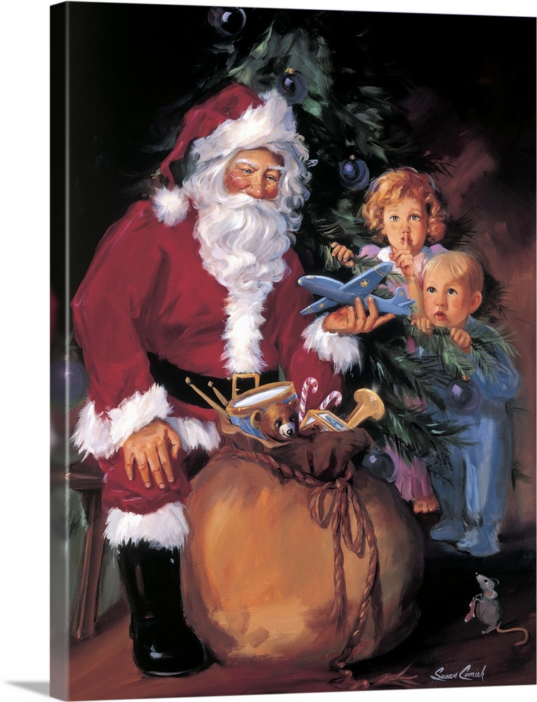 Large Solid-Faced Canvas Print Wall Art Print 30 x 40 entitled Christmas Eve Wonder Solid-Faced Canvas Print entitled Christmas Eve Wonder.  Painting of Santa handing out toys to two children.  Multiple sizes available.  Primary colors within this image include Plum, Black, Silver, Gray Blue.  Made in the USA.  Satisfaction guaranteed.  Inks used are latex-based and designed to last.  Featuring a proprietary design, our canvases produce the tightest corners without any bubbles, ripples, or bumps and will not warp or sag over time.  Canvas depth is 1.25 and includes a finished backing with pre-installed hanging hardware.