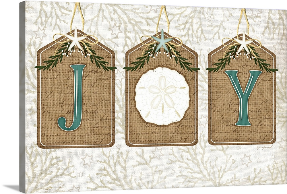 Large Solid-Faced Canvas Print Wall Art Print 30 x 20 entitled Coastal Christmas Joy II Solid-Faced Canvas Print entitled Coastal Christmas Joy II.  Christmas decor featuring the word, Joy in blue text on burlap tags over a light background with the a sand dollar as the O letter.  Multiple sizes available.  Primary colors within this image include Brown, Peach, White, Light Gray Blue.  Made in USA.  Satisfaction guaranteed.  Archival-quality UV-resistant inks.  Featuring a proprietary design, our canvases produce the tightest corners without any bubbles, ripples, or bumps and will not warp or sag over time.  Archival inks prevent fading and preserve as much fine detail as possible with no over-saturation or color shifting.