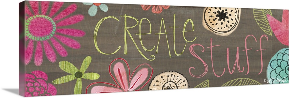 Large Solid-Faced Canvas Print Wall Art Print 48 x 16 entitled Create Stuff Solid-Faced Canvas Print entitled Create Stuff.  Contemporary folksy home decor artwork.  Multiple sizes available.  Primary colors within this image include Dark Yellow, Plum, Pink, Gray.  Made in the USA.  Satisfaction guaranteed.  Archival-quality UV-resistant inks.  Canvas depth is 1.25 and includes a finished backing with pre-installed hanging hardware.  Archival inks prevent fading and preserve as much fine detail as possible with no over-saturation or color shifting.