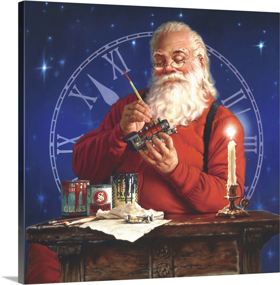 Large Solid-Faced Canvas Print Wall Art Print 20 x 20 entitled Finishing Touches Solid-Faced Canvas Print entitled Finishing Touches.  Portrait of Santa working on a toy train with a clock in the background.  Multiple sizes available.  Primary colors within this image include Pink, White, Dark Forest Green, Dark Navy Blue.  Made in the USA.  Satisfaction guaranteed.  Archival-quality UV-resistant inks.  Featuring a proprietary design, our canvases produce the tightest corners without any bubbles, ripples, or bumps and will not warp or sag over time.  Canvas depth is 1.25 and includes a finished backing with pre-installed hanging hardware.
