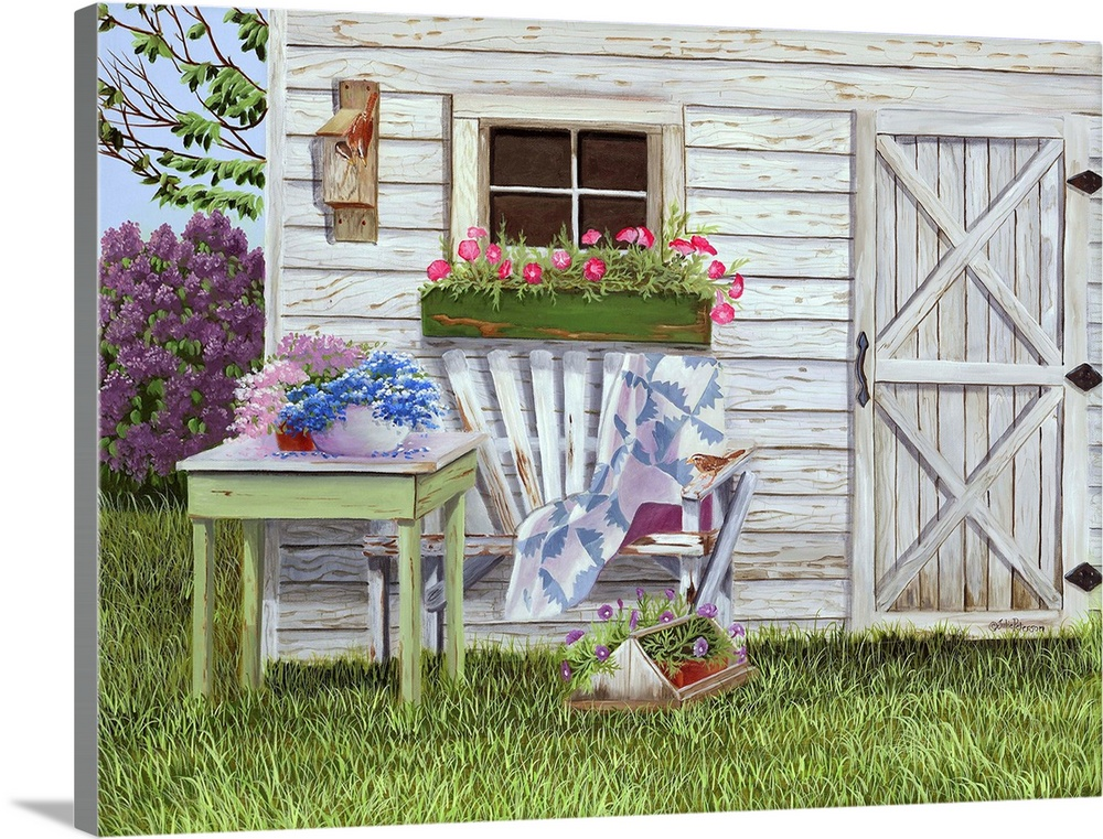 Large Solid-Faced Canvas Print Wall Art Print 40 x 30 entitled Garden Shed and Wren Solid-Faced Canvas Print entitled Garden Shed and Wren.  A painting of a country home with garden flowers out front.  Multiple sizes available.  Primary colors within this image include Light Purple, Gray, Dark Forest Green, Pale Blue.  Made in USA.  All products come with a 365 day workmanship guarantee.  Inks used are latex-based and designed to last.  Featuring a proprietary design, our canvases produce the tightest corners without any bubbles, ripples, or bumps and will not warp or sag over time.  Canvas depth is 1.25 and includes a finished backing with pre-installed hanging hardware.