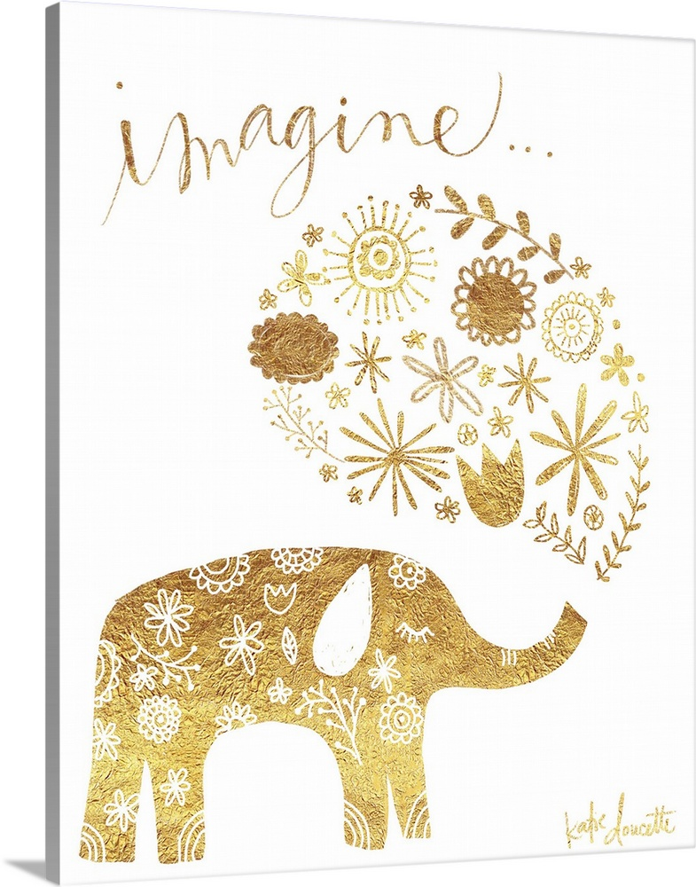 Solid-Faced Canvas Print Wall Art entitled Imagine Elephant