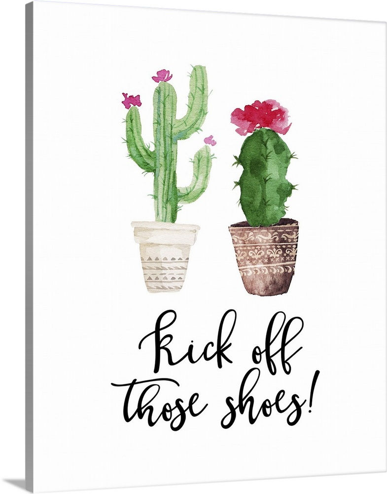 Large Solid-Faced Canvas Print Wall Art Print 24 x 30 entitled Kick Off Those Shoes Solid-Faced Canvas Print entitled Kick Off Those Shoes.  This decor features watercolor cactus plants with the words, Kick off those shoes underneath.  Multiple sizes available.  Primary colors within this image include Light Green, Light Purple, Black, White.  Made in the USA.  Satisfaction guaranteed.  Archival-quality UV-resistant inks.  Canvas depth is 1.25 and includes a finished backing with pre-installed hanging hardware.  Archival inks prevent fading and preserve as much fine detail as possible with no over-saturation or color shifting.