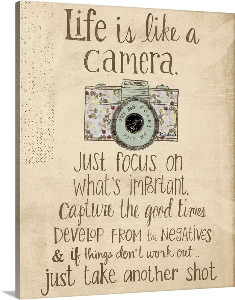 Large Solid-Faced Canvas Print Wall Art Print 24 x 30 entitled Life is like a camera Solid-Faced Canvas Print entitled Life is like a camera.  Contemporary folksy home decor artwork.  Multiple sizes available.  Primary colors within this image include Black, Gray, Silver.  Made in the USA.  Satisfaction guaranteed.  Archival-quality UV-resistant inks.  Archival inks prevent fading and preserve as much fine detail as possible with no over-saturation or color shifting.  Featuring a proprietary design, our canvases produce the tightest corners without any bubbles, ripples, or bumps and will not warp or sag over time.